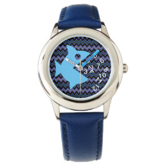 fish chevron hour numbers watch
