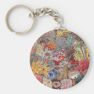 Fish clown and anemones key ring
