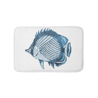 Fish coastal ocean beach blue white bath mats