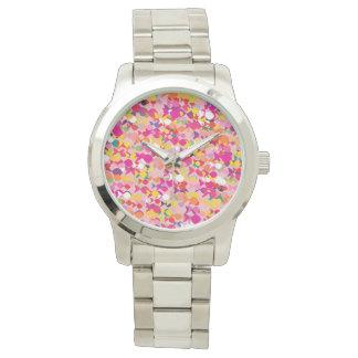Fish Colorful Stylish Pattern Vibrant Modern Pink Watch
