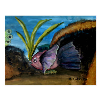 Fish Coral Reef Watercolor Postcard