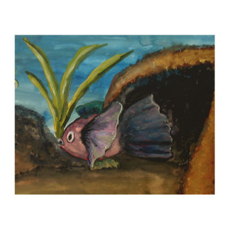 Fish Coral Reef Watercolor Wood Wall Art