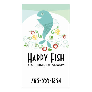 Fish dinner seafood platter chef catering biz card pack of standard business cards