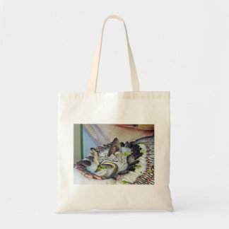 Fish displayed on Ice in Grocery store Canvas Bag