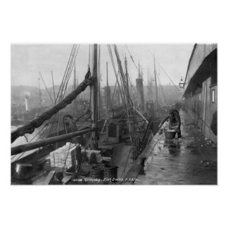 Fish docks, Grimsby, early 20th century Poster