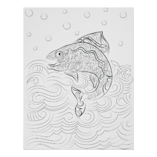 Fish drawing adult colouring poster