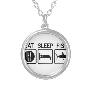 fish eat sleep silver plated necklace