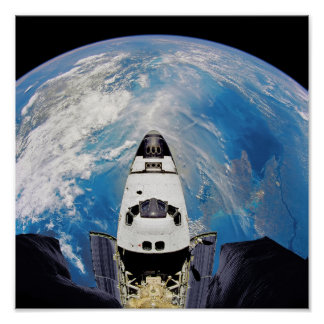 Fish Eye View Space Shuttle Atlantis Earth Orbit Poster