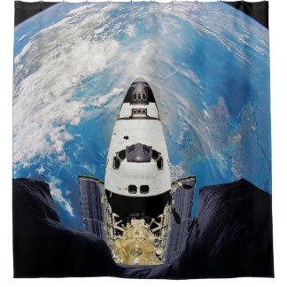 Fish Eye View Space Shuttle Atlantis Earth Orbit Shower Curtain
