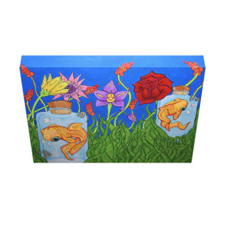 Fish Garden Stretched Canvas Canvas Print