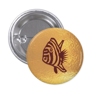 Fish Goldstar Exotic  - Medal Icon Gold Base 3 Cm Round Badge