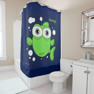 Fish (Green, navy Blue Bg) Shower Curtain