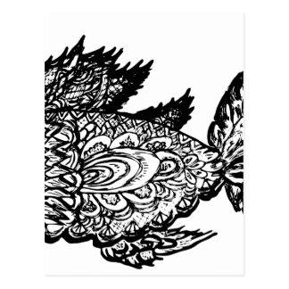 Fish Grunge Lineart Postcard