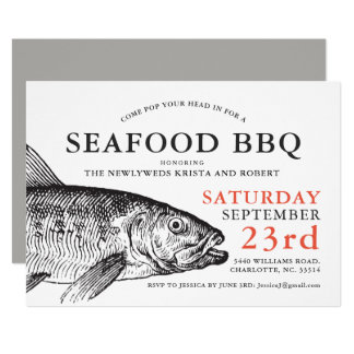Fish Head Fish Fry Party Custom Invitation