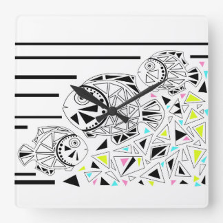Fish . Horoscope . Square Wall Clock