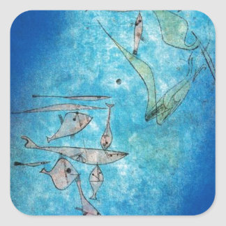 Fish Image by Paul Klee Square Sticker