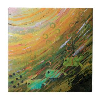 Fish in a Green Sea Ceramic Tile