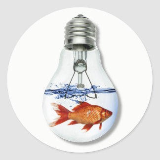 Fish in a Light Bulb Aquarium | Fish Tank Classic Round Sticker