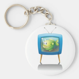 Fish In A Television Keychain