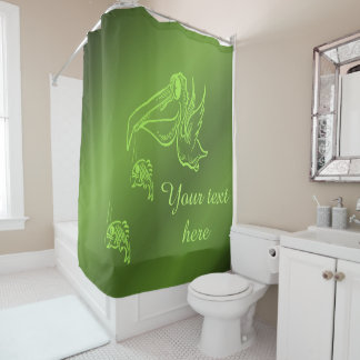 fish in green name template shower curtain