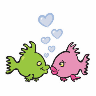 fish in love valentine standing photo sculpture