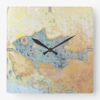 Fish in Shallow Water Square Wall Clock