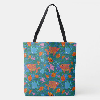 Fish in the Sea, Colourful, Fun Pattern Tote Bag