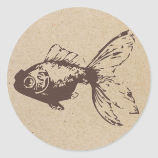 fish ink stamped sticker