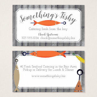Fish kebab seafood chef catering business card