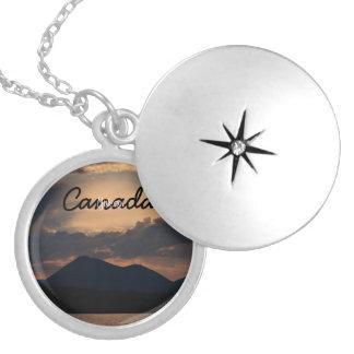 Fish Lake Sunset; Yukon Territory Souvenir Round Locket Necklace