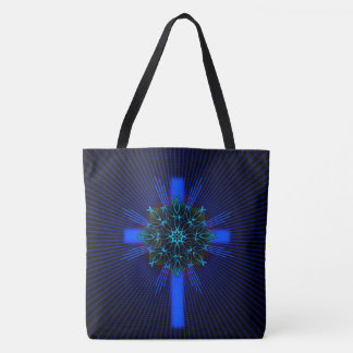 Fish Mandala and Cross Tote Bag