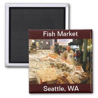Fish Market Seattle WA Square Magnet