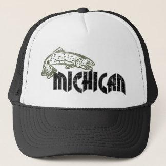 FISH MICHIGAN VINTAGE LOGO TRUCKER HAT
