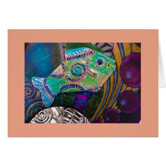 Fish mixed media BLANK greeting card. Card