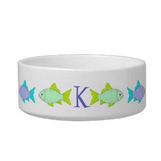 Fish Monogram Cat Food Dish Cat Bowls