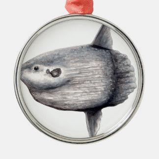 Fish moon metal ornament