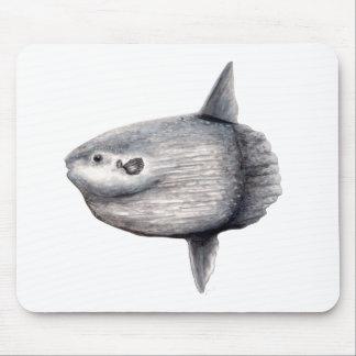 Fish moon mouse pad