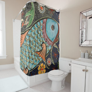 fish mosiac shower curtain