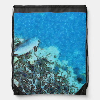 Fish moving over the reef drawstring bag