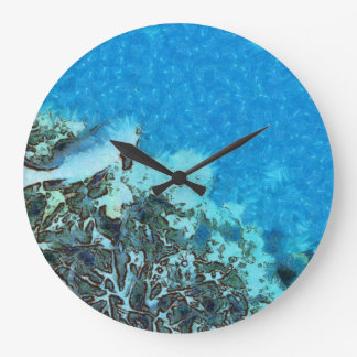 Fish moving over the reef large clock