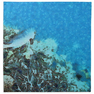 Fish moving over the reef napkin