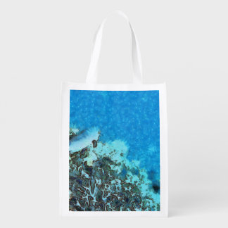 Fish moving over the reef reusable grocery bag
