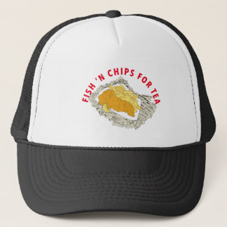 FISH N CHIPS FOR TEA TEE SHIRT TRUCKER HAT