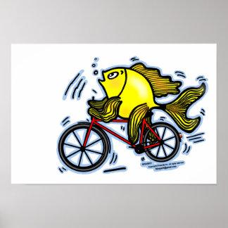 Fish need bicycle funny cartoon Poster