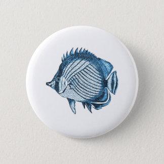Fish ocean coastal nautical beach sea blue gifts 6 cm round badge