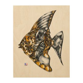 "Fish of opus number 20151028000c ""machine"" wood print"