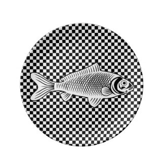 Fish on Checkers Decorative Porcelain Plate