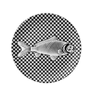 Fish on Checkers Decorative Porcelain Plate Porcelain Plates