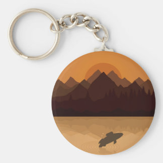 Fish on lake basic round button key ring