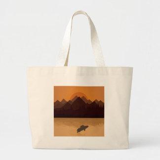 Fish on lake large tote bag